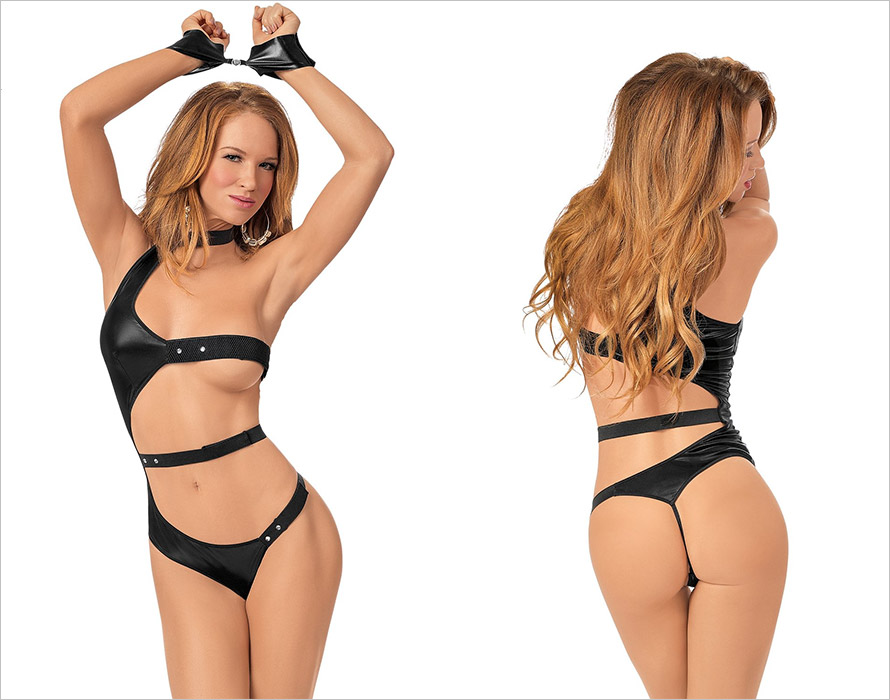 Escante After Dark Teddy with magnetic restraints - Black (S/L)