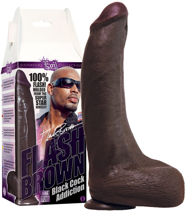 Evil Angel Flash Brown Realistic Black Cock Dildo - 18 cm