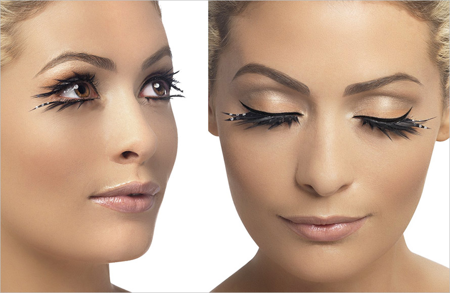 Fever Glamour False Eyelashes - Black with crystals (top & bottom)