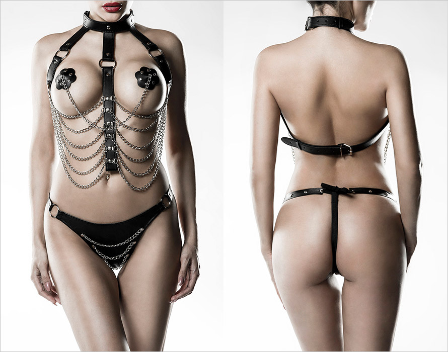 Grey Velvet 14503 harness set - 3 piece - Black (XS/XL)