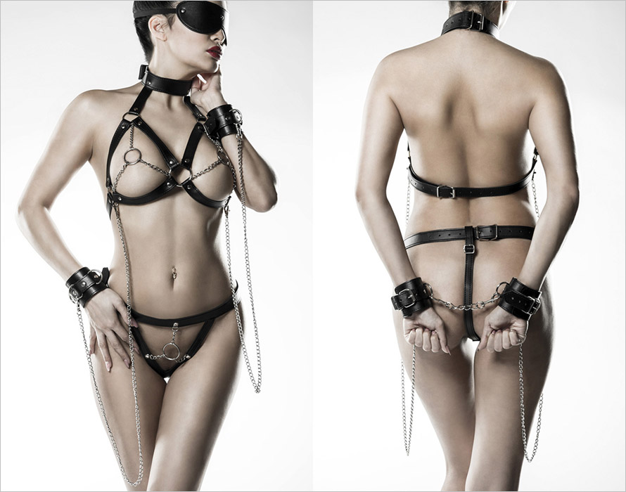 Grey Velvet 14504 harness set - 5 piece - Black (XS/XL)