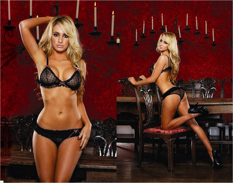 Hustler Heart Mesh Bra and Panties Set - Black (S/L)