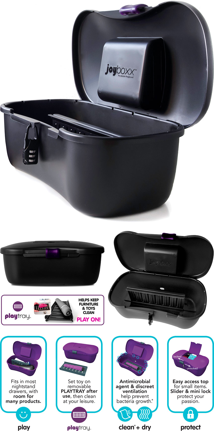 JoyBoxx Hygienic Storage System for Sextoys - Black