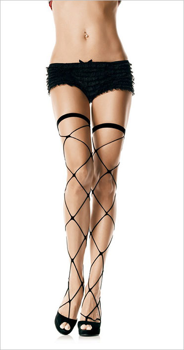 Leg Avenue Jumbo Net Thigh Highs Stockings - Black (S/M)