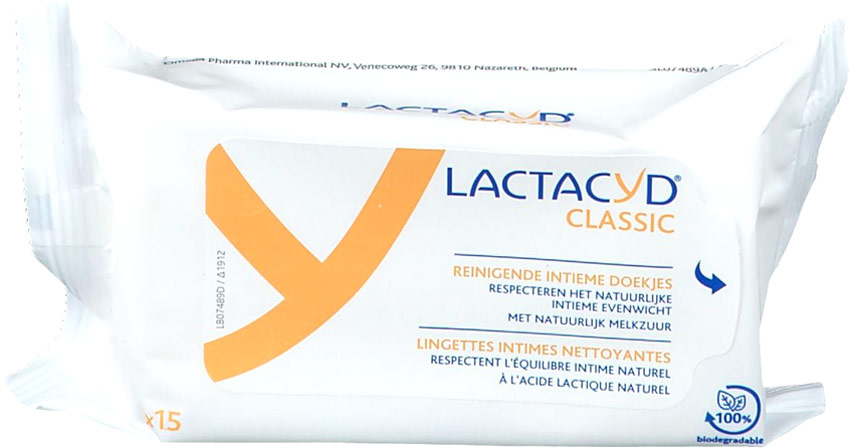 Lactacyd Classic Intimate Cleaning Wipes (15 wipes)