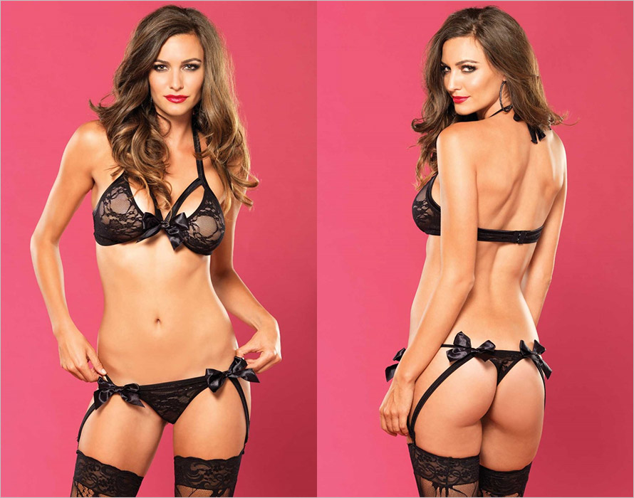 Leg Avenue Lovely Bows BH & String - Schwarz (S/M)