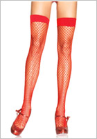 Leg Avenue 9036 stay-up fishnet stockings - Red (S/L)