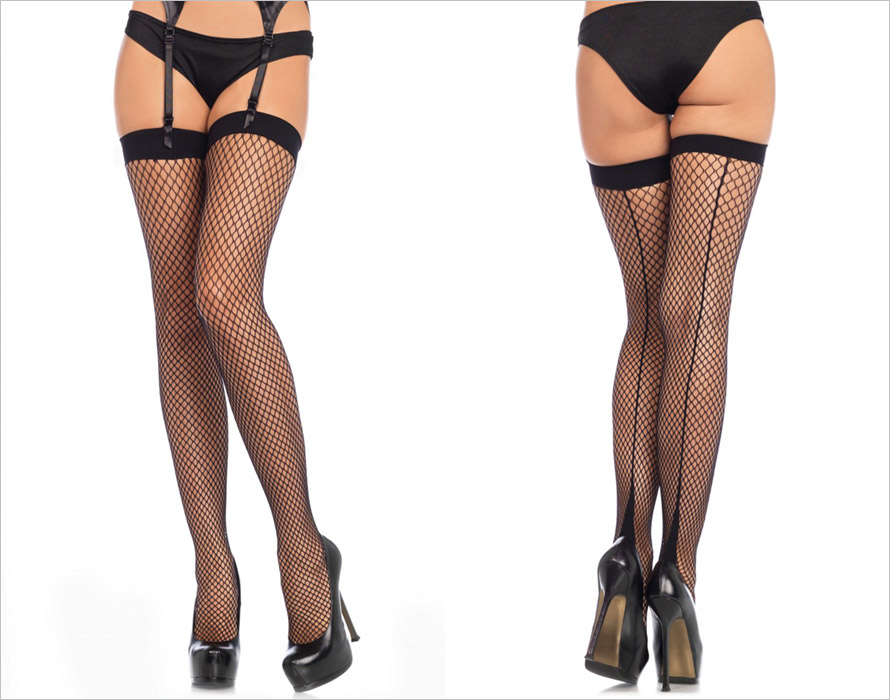 Leg Avenue 9097 stay-up stockings - Black (S/L)