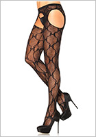 Leg Avenue fishnet pantyhose with suspenders - Black (S/L)
