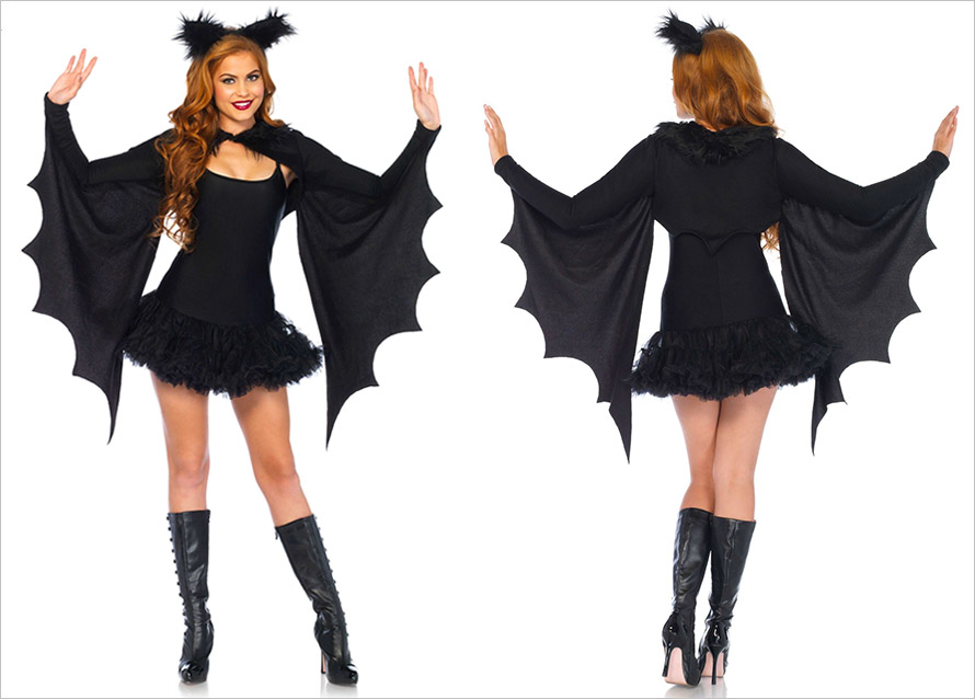 Leg Avenue Cozy Bat Wing Costume - Black