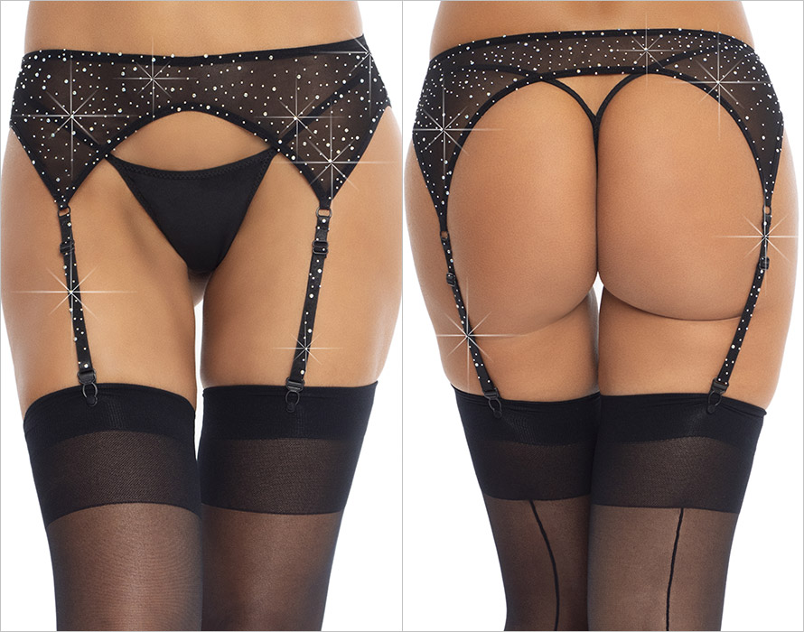 Leg Avenue Dashing Garter Belt - Black (S/L)