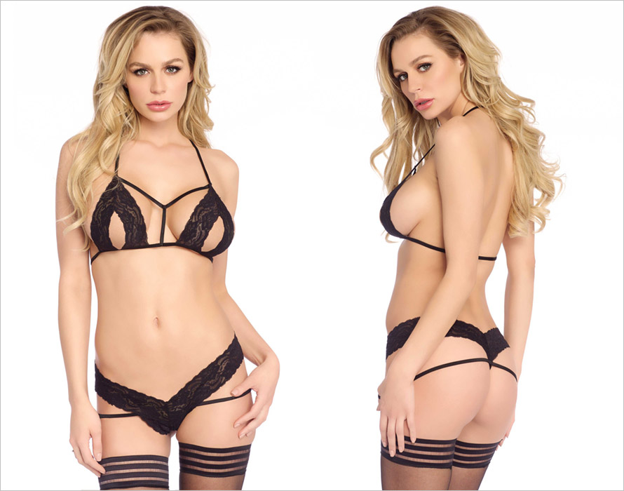 Leg Avenue Peek-A-Boo Set - Black (S/L)
