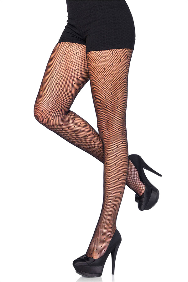 Leg Avenue Collant Starlette Filet à pois - Noir (S/L)