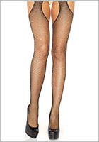 Leg Avenue Crystalized Open pantyhose with rhinestones - Black (S/L)