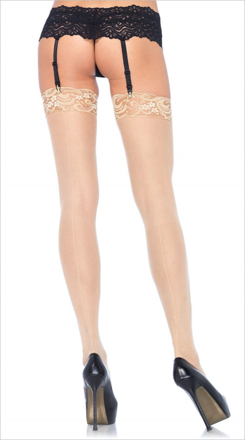 Leg Avenue Sheer Lace Top Backseam Stockings - White Skin (S/M)