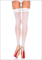 Leg Avenue Sheer Lace Top Stockings with Backseam - White (S/M)