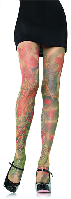 Leg Avenue Collant Opaque Tattoo Print - Beige (S/L)
