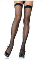 Leg Avenue Nylon Fishnet Thigh Highs - Black (S/M)