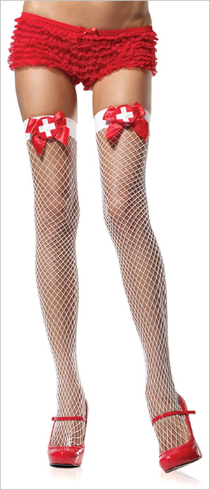 Leg Avenue Net Thigh Highs with Nurse Badge Applique - White (S/M)