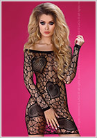 LivCo Corsetti Bodystocking-Dress Adrienne - Black (S/L)