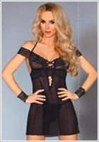 LivCo Corsetti Afica Dress & Thong - Black (L/XL)