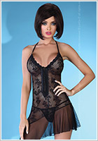 LivCo Corsetti Drina transparent mesh chemise & G-string - Black (L/XL)