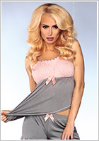 LivCo Corsetti sexy Pyjama outfit 102 - Pink and Grey (L/XL)