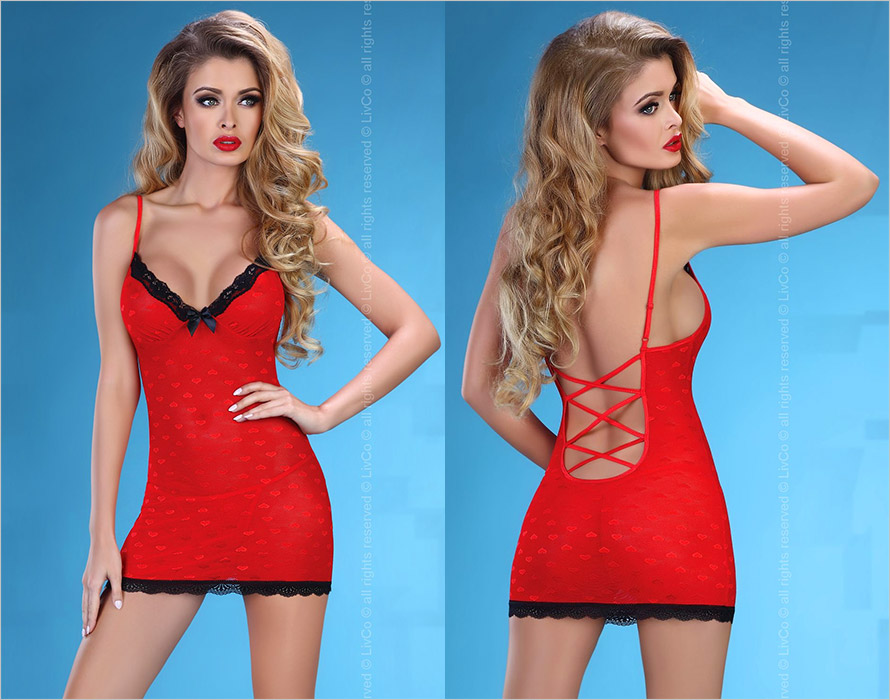 LivCo Corsetti Hot Love Chemise & Thong - Red (S/M)