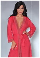 LivCo Corsetti Frances Dressing Gown & Thong - Coral (S/M)