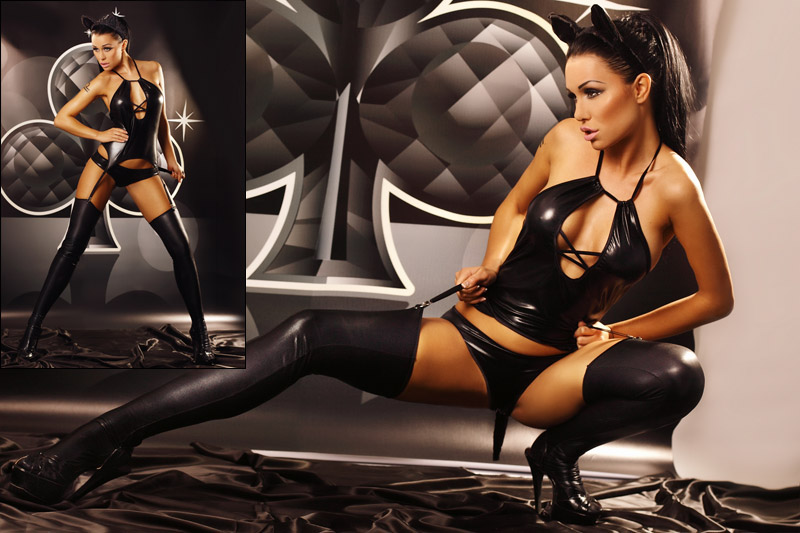 Lolitta Costume de chatte sexy Kitty - Noir (S/M)