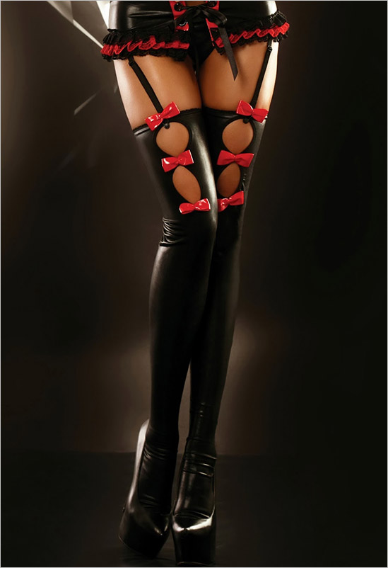 Lolitta Flame Stockings - Black & red (S/M)