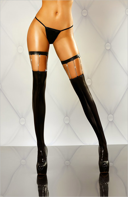 Lolitta Chain Stockings - Black (S/M)