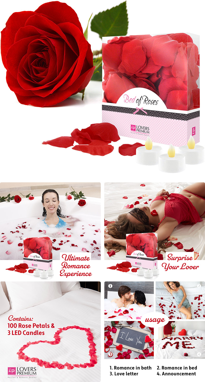 Bed of Roses - Pétales de Rose & Bougies LED - Rouge
