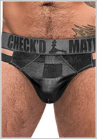 Male Power Check'd Mate Thong - Black & grey (S/M)