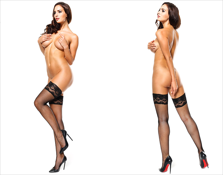 MissO S605 Stay-up stockings - Black (L/XL)