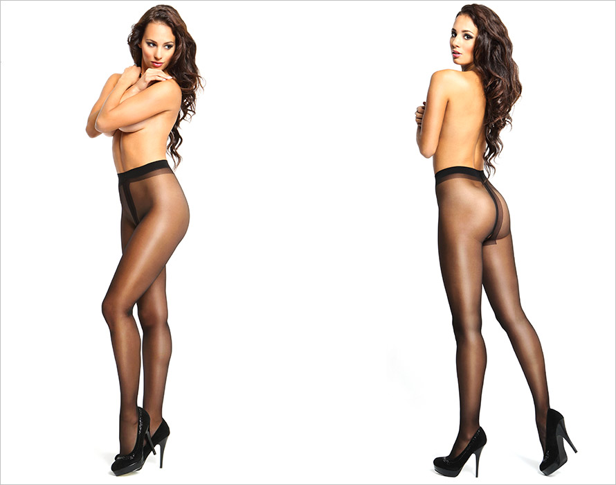 MissO P101 open crotch pantyhose - Black (L/XL)