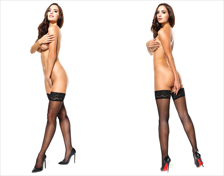 MissO S305 Stay-up stockings - Black (S/M)