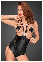 Noir Handmade Corset Power Wetlook F179 - Noir (XXL)