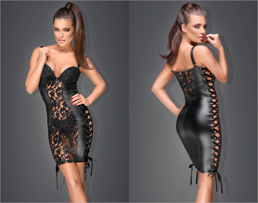 Noir Handmade F146 Power Wetlook Minidress - Black (S)