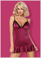 Obsessive 845 chemise and thong - Garnet red & black (L/XL)