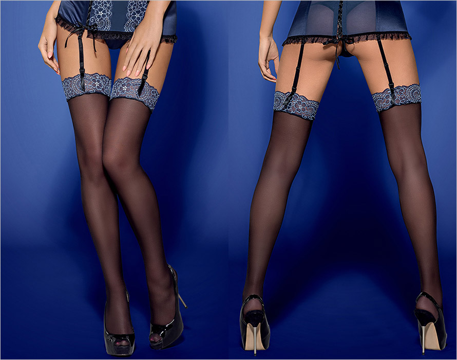 Obsessive Auroria Stockings - Black & blue (XXL)