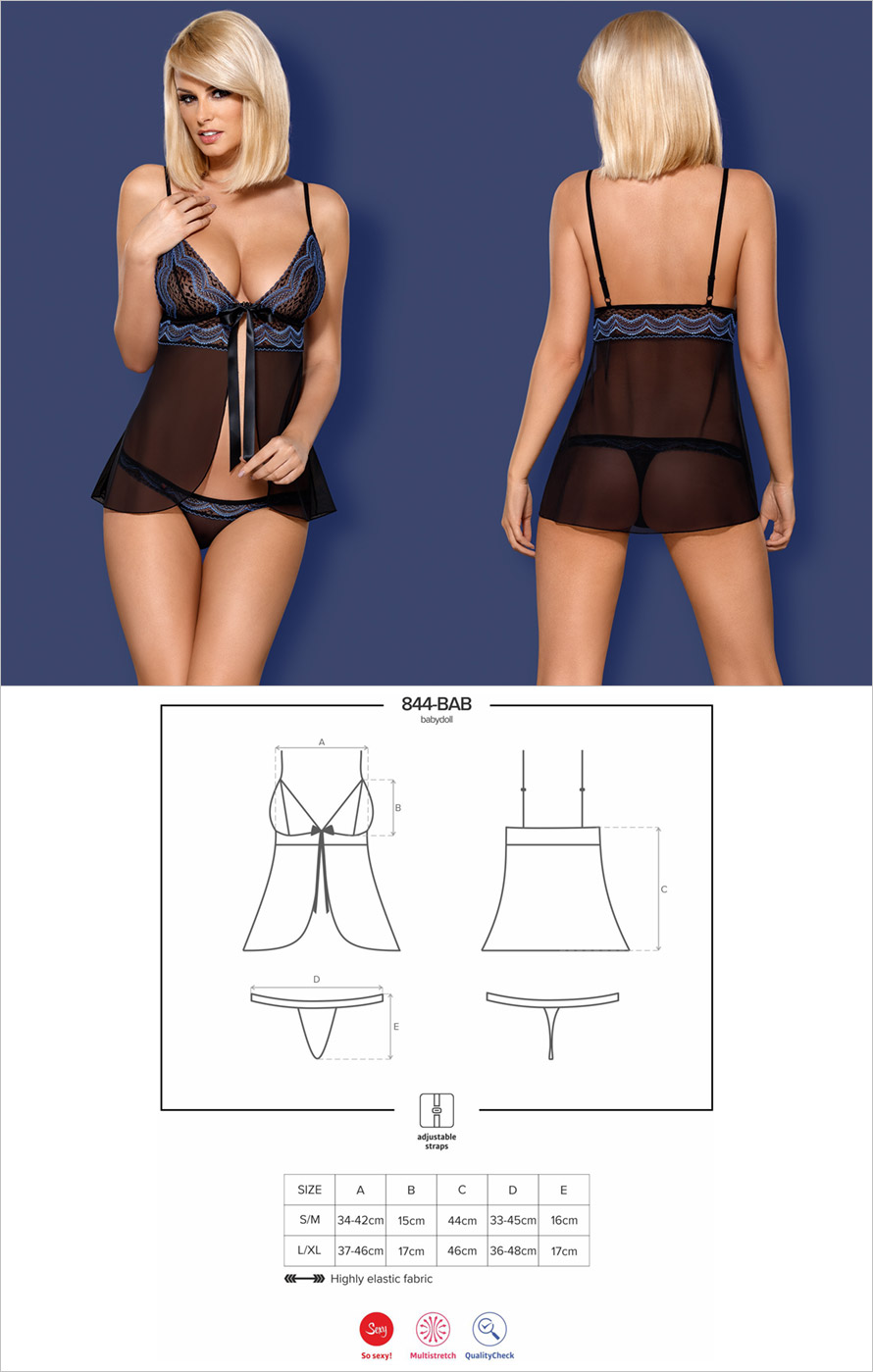 Obsessive 844 Babydoll & Thong - Black & blue (L/XL)