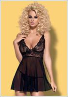 Obsessive Imperia Babydoll & Thong - Black (S/M)
