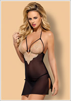 Obsessive Bisquitta Chemise & Thong - Black & beige (S/M)