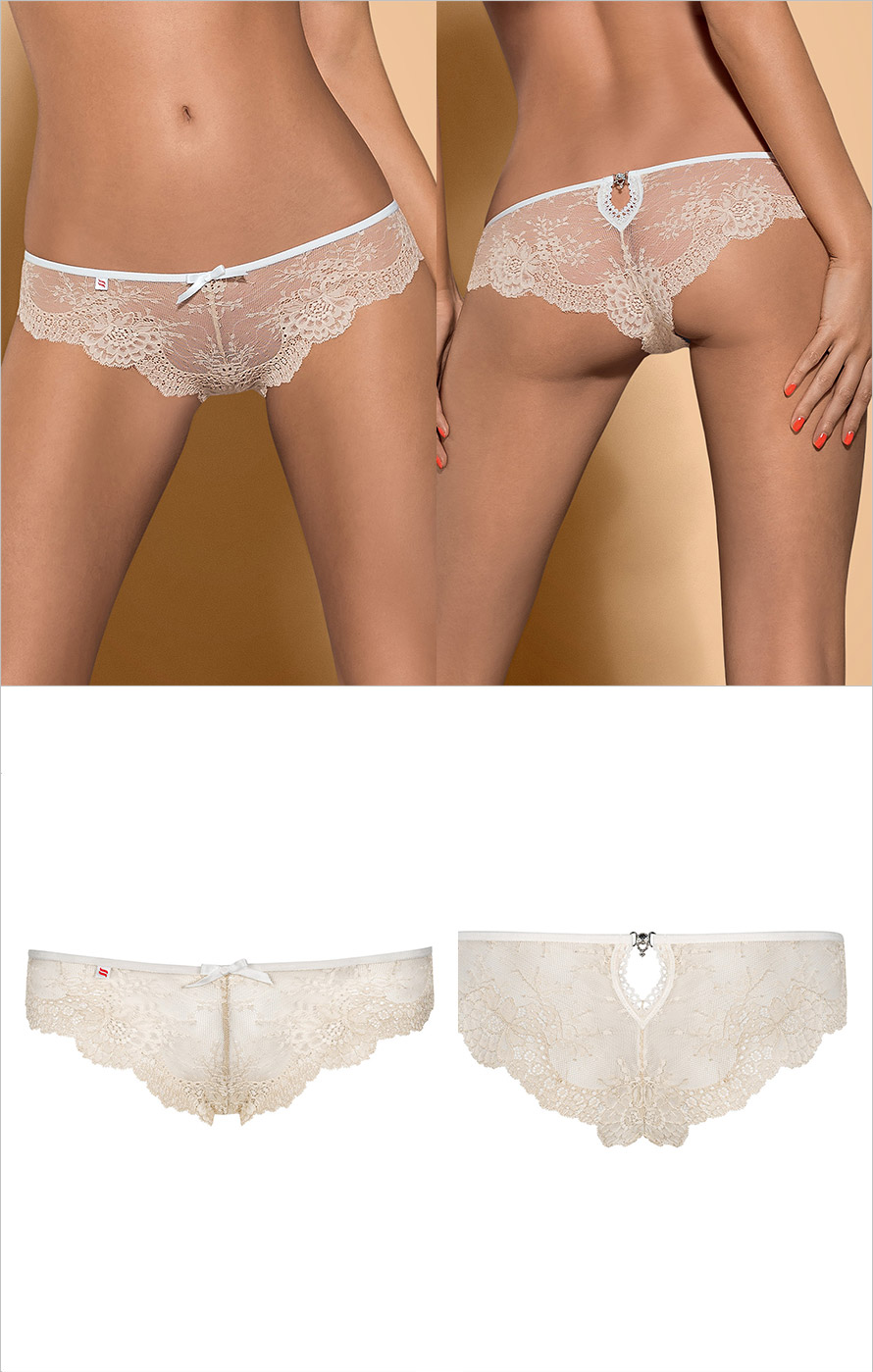 Obsessive Bisquitta Panties - Beige & white (L/XL)