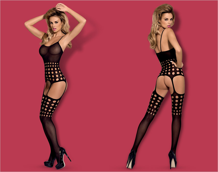 Obsessive Transparent Bodystocking G310 - Black (S/M/L)