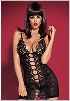 Obsessive Bride Chemise & Thong - Black (L/XL)