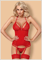Obsessive Corset & String 838 - Rouge (S/M)