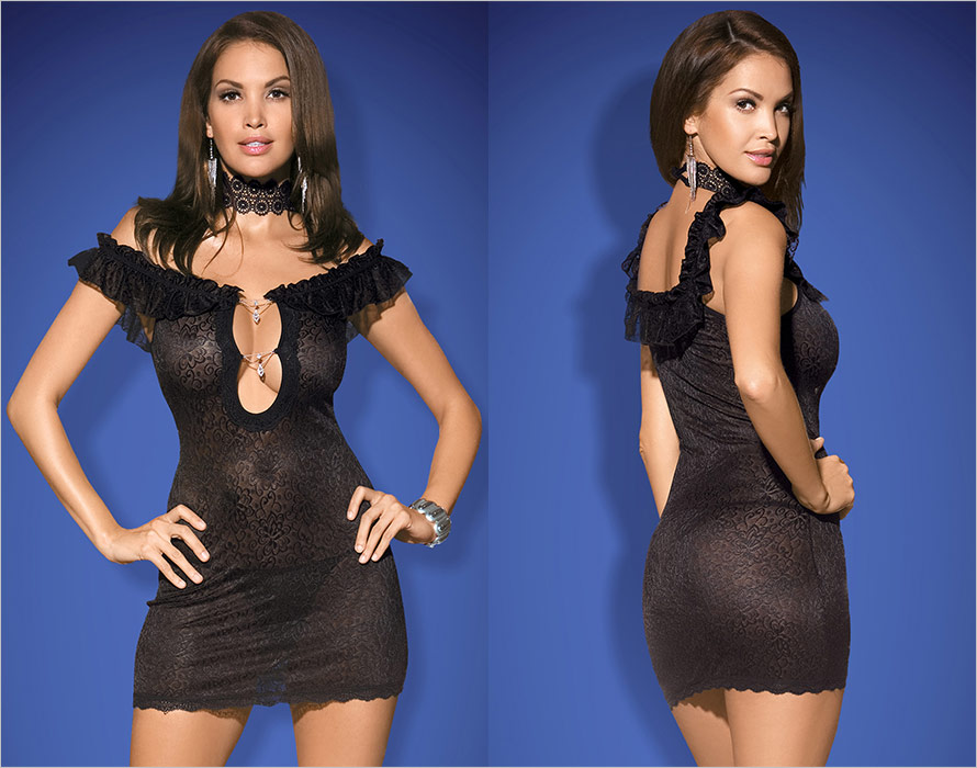 Obsessive Diamond Chemise & Thong - Black (XXL)