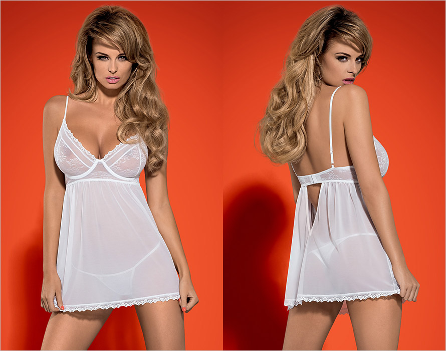 Obsessive Favoritta Babydoll & String - Weiss (S/M)